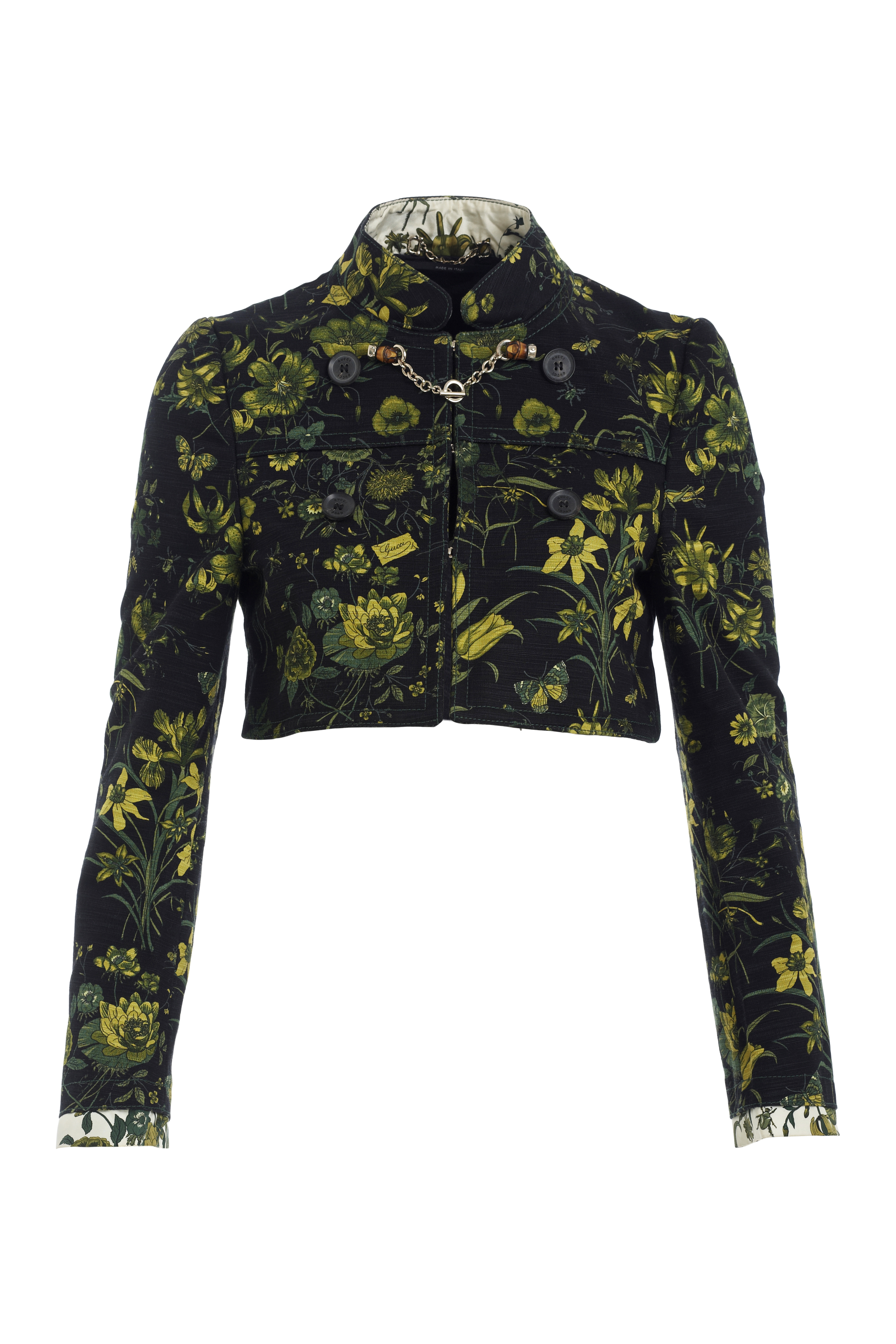 4ba4a0ea11b Gucci black crop jacket with green floral print and chain with bamboo front  closure