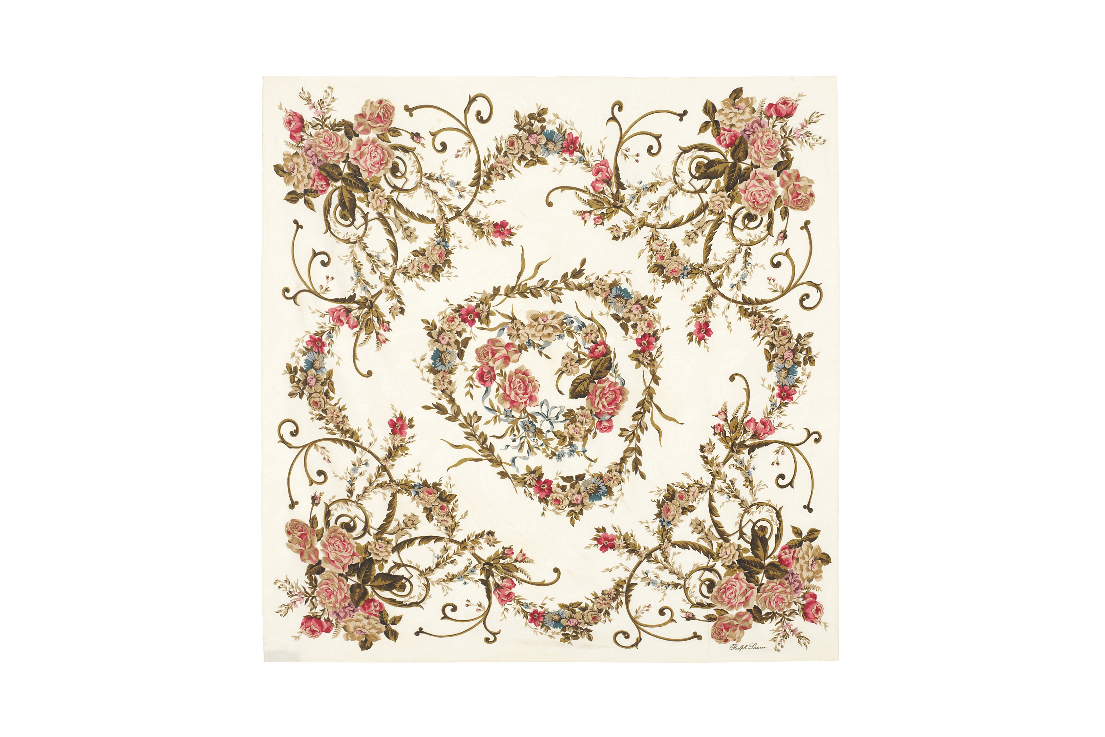 ralph lauren cream silk scarf with red and blue floral motif curate8. Black Bedroom Furniture Sets. Home Design Ideas